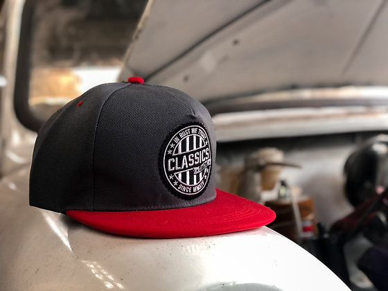 Grey/Red Round Patch Cap