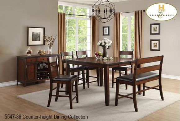 5547 6pc Counter Height Dining Table Set