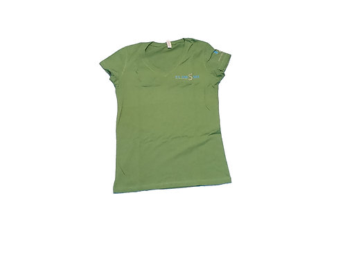 Women's Green Shirt with Silver Logo