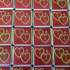 Wedding Favour Gold Hearts with Initals_