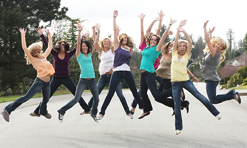 Ladies jumping