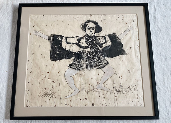 Vintage Kubuki - Original mixed media art