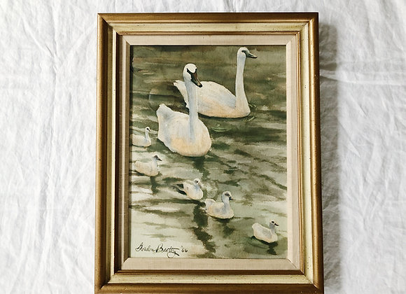 Vintage Original Watercolor Swans by Gordon Beatty '66