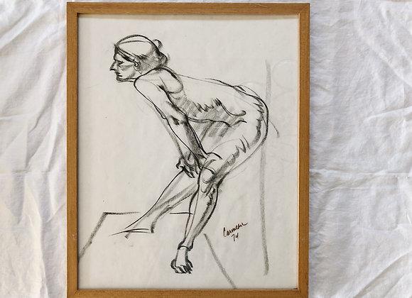 Vintage Charcoal Sketch - Carmen '74