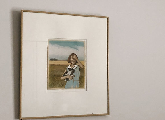 Vintage Drawing - Girl w/Cat in a Field