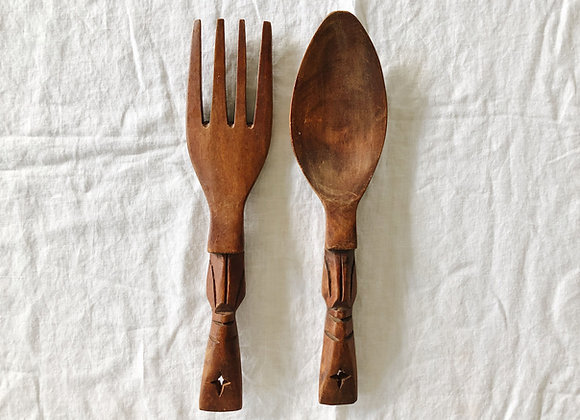 Carved Wooden Fork and Spoon
