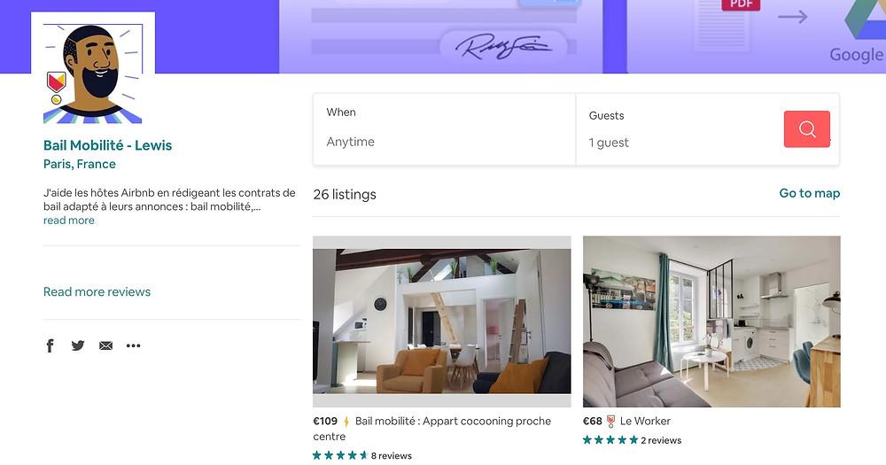 Annonces Airbnb en Bail mobilité et Lewis
