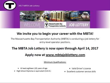 2017 MBTA Job Lottery is Open