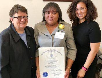 State Representative Liz Malia welcomed Local Community Activist, Judith Lamb, in the State House as