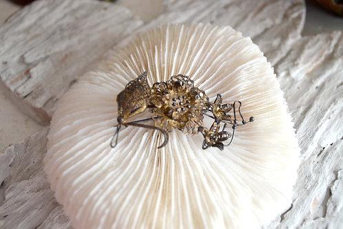 復古純銀花造型胸針 高貴優雅 日本二手中古珠寶首飾古著