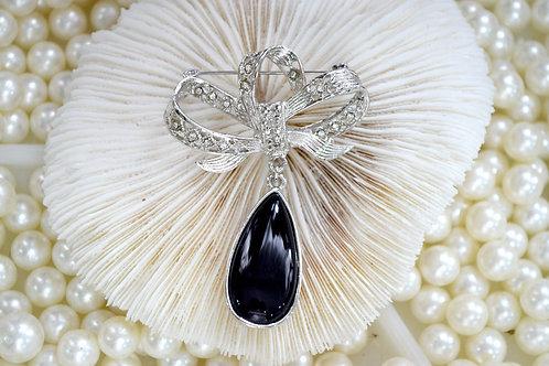 鍍銀蝴蝶結黑色寶石胸針 貴婦淑女 日本高級二手古著珠寶首飾