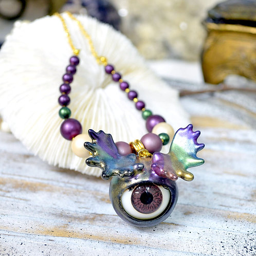 <怪獸系列> 金屬彩虹鹿角 活動眼珠項鍊頸鍊  貝殼珍珠子 鍍真金項鍊
