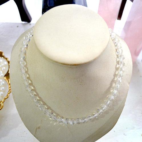 白水晶圓珠短項鏈 貴婦淑女 日本高級二手古著珠寶首飾