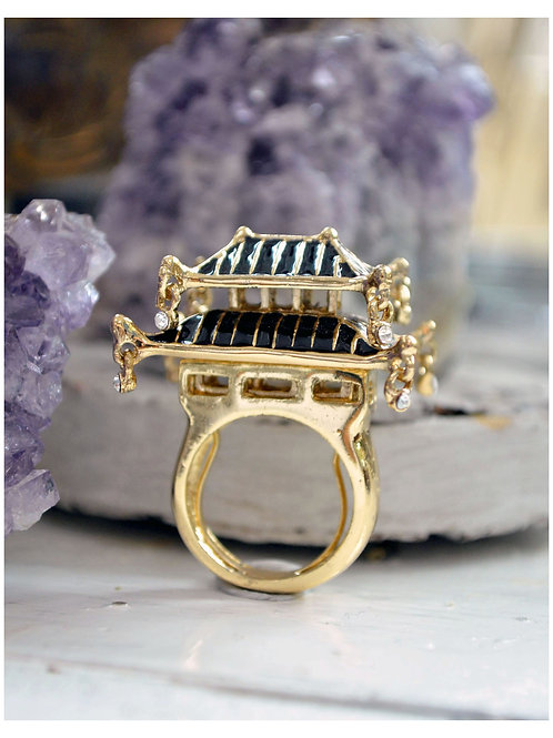 TIMBEE LO 黑色日本立體城堡戒指 內置彈性尺寸調整器