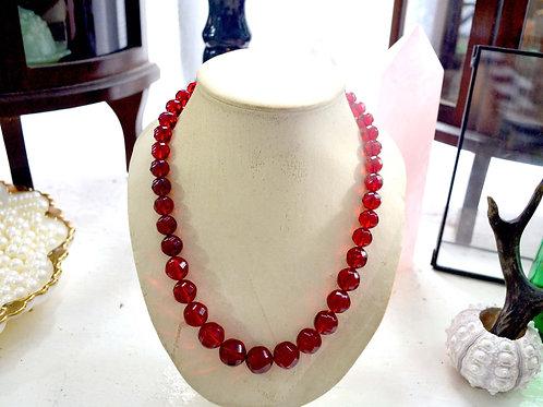 緋紅色樹脂圓珠短項鏈 貴婦淑女 日本高級二手古著珠寶首飾