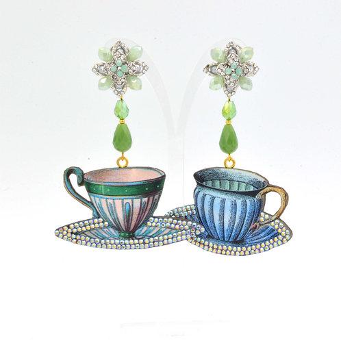 復古茶杯圖案木片耳環 綴施華洛水晶