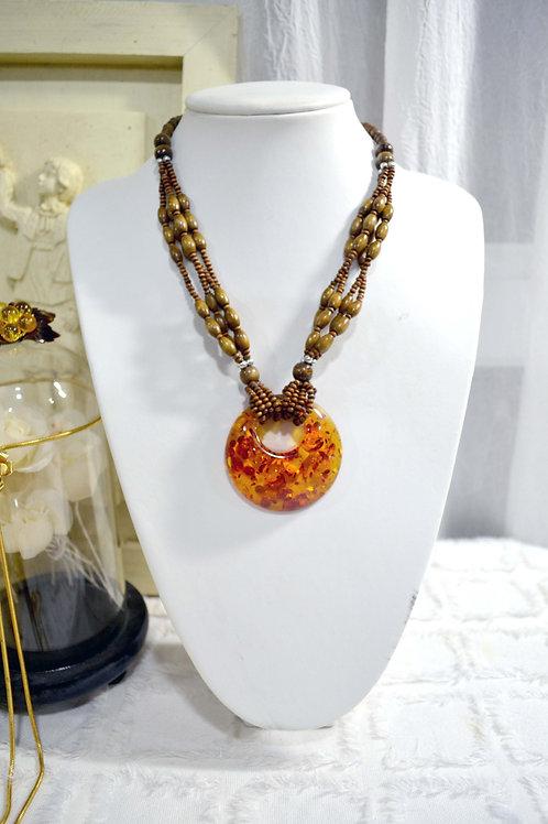 圓形花珀木珠串珠項鏈 可放長短 日本高級貴婦風二手古著珠寶首飾