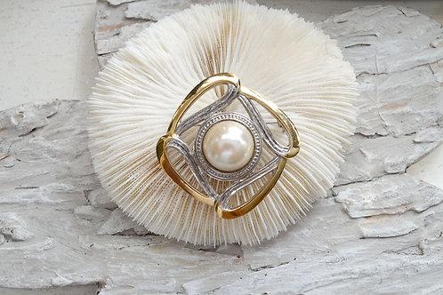 金銀色方型胸針心口針 高貴優雅復古造型 日本中古二手珠寶首飾