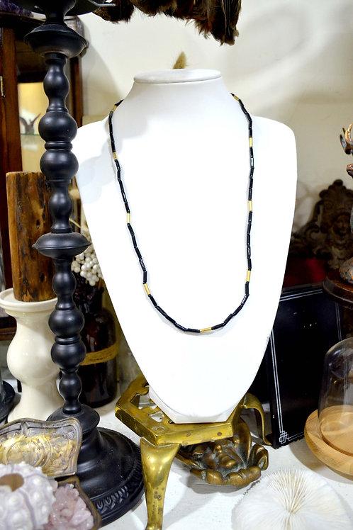 超美黑金色管狀珠子復古項鏈 高貴優雅 日本二手中古珠寶首飾古著
