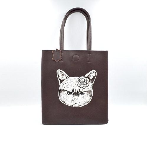 TIMBEE LO X GOOKASO 設計師手繪貓咪圖案頭層牛皮TOTE BAG 手袋包包 接單訂製款 Hand Paiinting Handbag Made