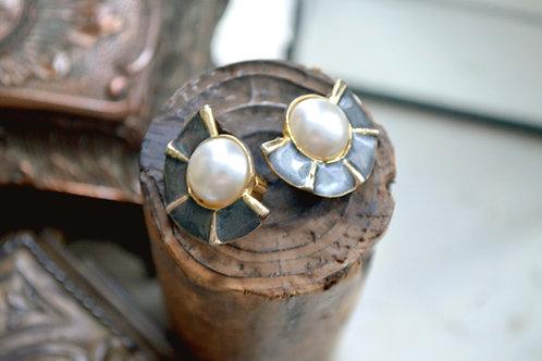 珍珠扇型鍍金夾式耳環耳夾 貴婦淑女 日本高級二手古著珠寶首飾