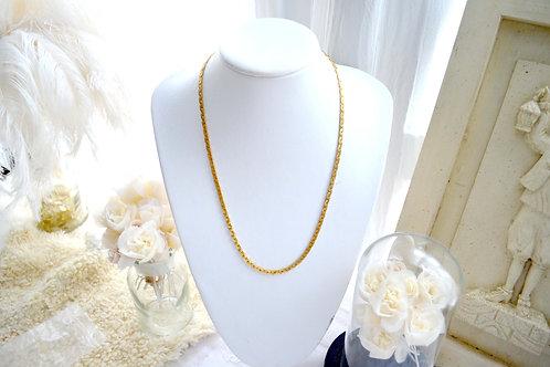 日本鍍金蛇形鏈形中長項鍊 貴婦少女 輕珠寶 日本高級二手古著珠寶首飾