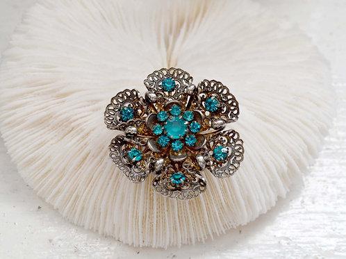 銀飾綠寶石立體花胸針 高貴優雅 日本二手中古珠寶首飾