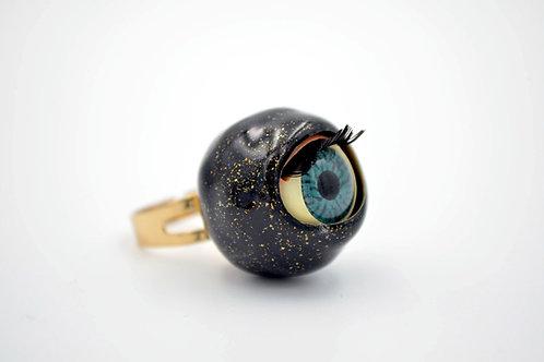 黑色活動眼珠戒指 閃粉糖果色系
