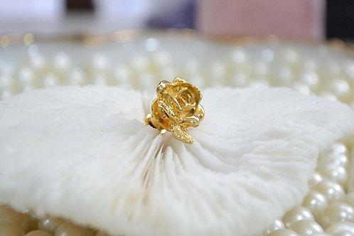 鍍金精緻玫瑰花胸針 貴婦淑女 日本高級二手古著珠寶首飾