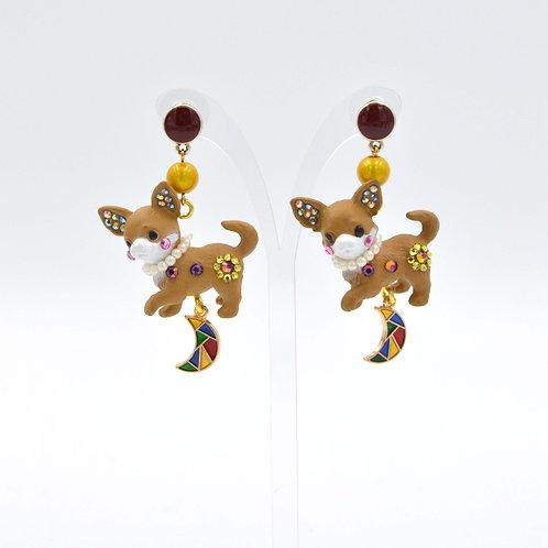 芝娃娃小狗綴施華洛水晶裝飾耳環 Swarovski Crystal
