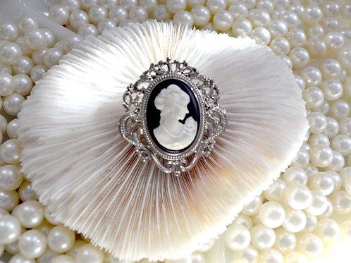 巴洛克風鍍銀女王頭胸針 貴婦淑女 日本高級二手古著珠寶首飾