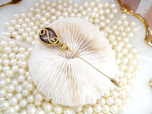 巴洛克風粉紅樹脂閃石胸針 貴婦淑女 日本高級二手古著珠寶首飾