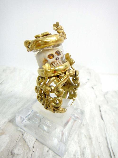 黃銅立體鏤空雕花骷髏介指 黃銅材質 可以永久擦亮 可調較尺寸
