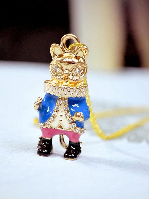 TIMBEE LO X GOOKASO 原創 金屬雕刻藍色 貓咪國王頸鍊 項鍊吊墜 Necklace