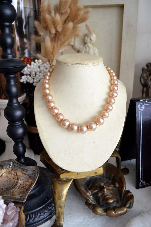 復古樹脂仿珍珠銀扣項鏈 高貴優雅 日本二手中古珠寶首飾古著