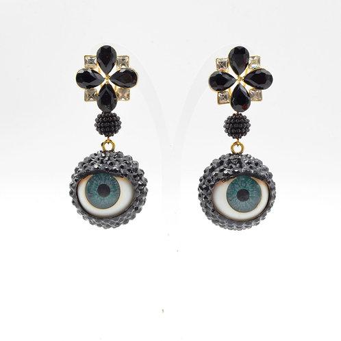 銀黑色施華洛水晶石 眼球眼珠耳環 24mm直徑 眨眼睡眼Swarovski