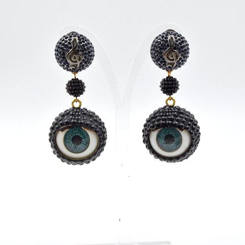 黑色樹脂珍珠眼球眼珠耳環 24mm直徑 眨眼睡眼Swarovski 時裝藝術