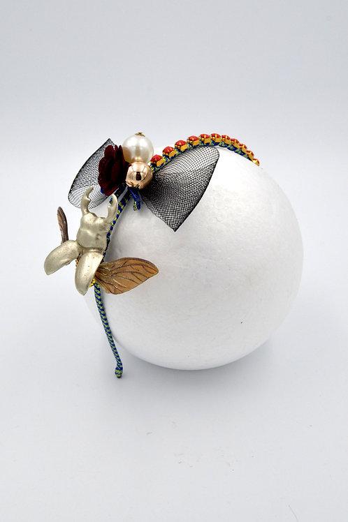 銀色甲虫綴網蝴蝶結髮箍