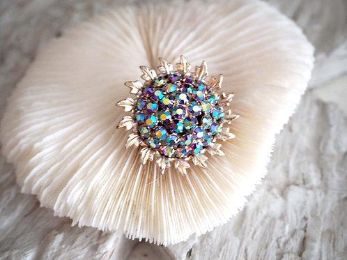 紫紅色幻彩水晶寶石太陽花銀色胸針 日本高級二手中古珠寶首飾