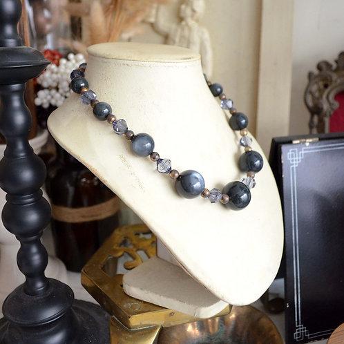 華麗貓眼石質感珠子復古項鏈 高貴優雅 日本二手中古珠寶首飾古著