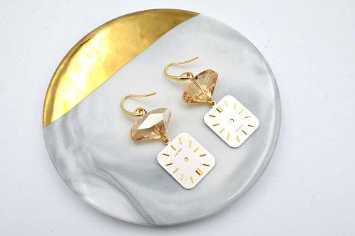 茶色施華洛不規則水晶石綴古董錶面耳環  Camel Swarovski Crystal with Vintage Dial Earrings