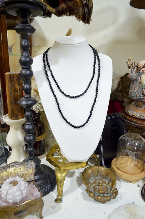復古施華洛黑色珠子項鏈 高貴優雅 日本二手中古珠寶首飾古著