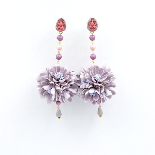紫色巨型雛菊花球耳環