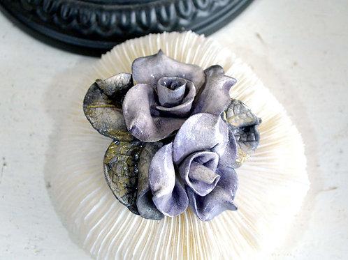 紫色粘土玫瑰花葉子胸針 高貴優雅 日本高級二手中古珠寶首飾