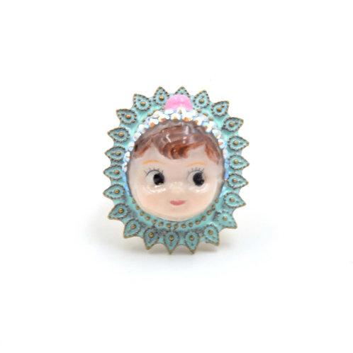 粉紅色帽子娃娃戒指 黃銅可翻新不掉色 可調整尺寸 綴施華洛水晶