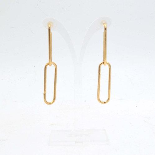 925銀針系列 18K鍍黃金色 巨大活動鎖鏈扣耳環 925純銀耳釘防過敏