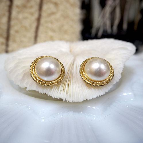 復古鍍金花邊托配珍珠耳夾 貴婦人淑女 日本高級二手古著珠寶首飾