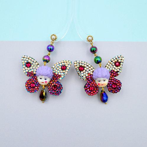 TIMBEE LO 紫髮瑪莉皇后蝴蝶耳環 藝術品飾品 綴滿施華洛水晶石