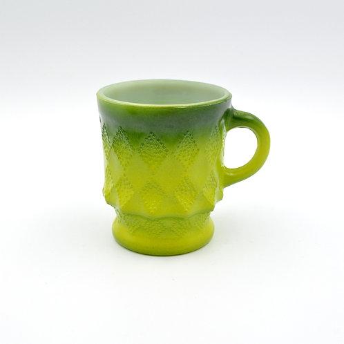 FIRE KING 綠色菱格咖啡杯 60年代古董物品