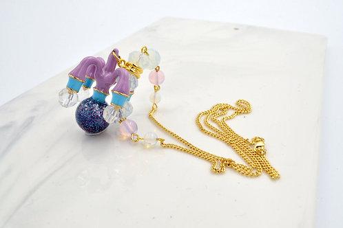 紫色吊燈綴手工閃閃珠子 配 鍍18K金項鍊